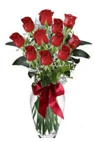 11 adet kirmizi gül vazo mika vazo içinde  Gaziantep ucuz çiçek gönder