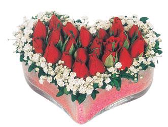 Gaziantep çiçek online çiçek siparişi  mika kalpte kirmizi güller 9