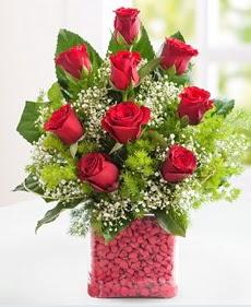 Cam içerisinde 9 adet kırmızı gül  Gaziantep çiçek yolla , çiçek gönder , çiçekçi