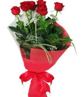 5 adet kırmızı gülden buket  Gaziantep internetten çiçek siparişi
