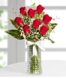 7 Adet vazoda kırmızı gül sevgiliye özel  Gaziantep online çiçekçi , çiçek siparişi