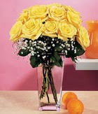 Gaziantep çiçek yolla , çiçek gönder , çiçekçi   9 adet sari güllerden cam yada mika vazo