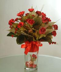 yapay güllerden vazo  9 gül  Gaziantep çiçek , çiçekçi , çiçekçilik