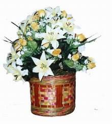 yapay karisik çiçek sepeti   Gaziantep çiçek satışı