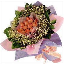 11  adet  gül ve   elyaflar   Gaziantep yurtiçi ve yurtdışı çiçek siparişi