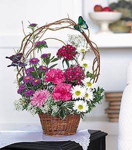 Gaziantep çiçek satışı  sepet içerisinde karanfil gerbera ve kir çiçekleri
