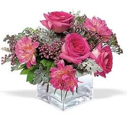 Gaziantep çiçek satışı  cam içerisinde 5 gül 7 gerbera çiçegi