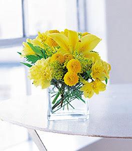 Gaziantep kaliteli taze ve ucuz çiçekler  sarinin sihri cam içinde görsel sade çiçekler