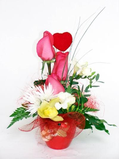 Gaziantep kaliteli taze ve ucuz çiçekler  cam içerisinde 3 adet gül ve kir çiçekleri