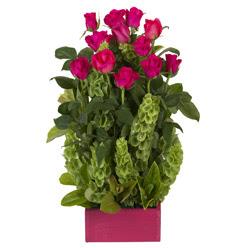 12 adet kirmizi gül aranjmani  Gaziantep çiçekçiler