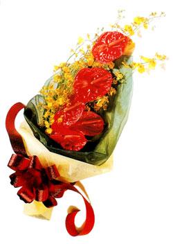 özel 5 adet antorium buketi   Gaziantep 14 şubat sevgililer günü çiçek