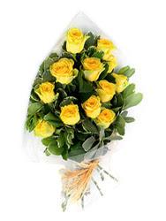 Gaziantep çiçek siparişi vermek  12 li sari gül buketi.