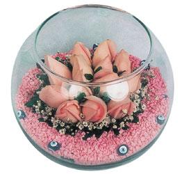 Gaziantep çiçek yolla , çiçek gönder , çiçekçi   cam fanus içerisinde 10 adet gül