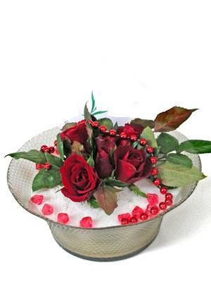 Gaziantep çiçek yolla  EN ÇOK Sevenlere 7 adet kirmizi gül mika yada cam tanzim