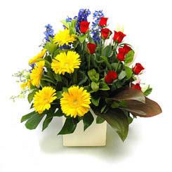 Gaziantep çiçek gönderme  9 adet gül ve kir çiçekleri cam yada mika vazoda