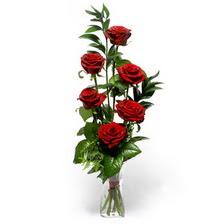 Gaziantep çiçek , çiçekçi , çiçekçilik  mika yada cam vazoda 6 adet essiz gül