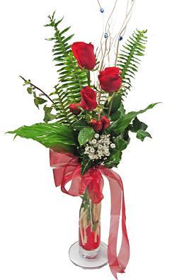 Çiçek gönderin cam vazoda 3 gül çiçekleri  Gaziantep online çiçekçi , çiçek siparişi