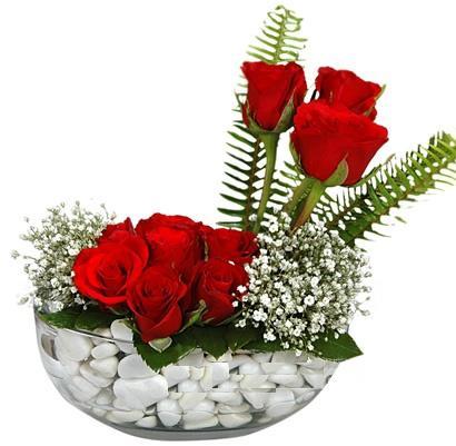 cam içerisinde 9 adet kirmizi gül  Gaziantep çiçek yolla