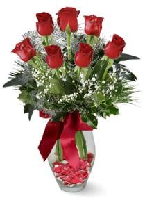 7 adet vazoda gül  Gaziantep çiçek yolla , çiçek gönder , çiçekçi   kirmizi gül