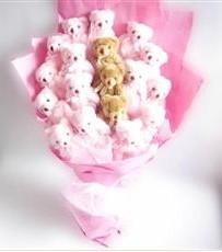 17 adet pelus ayicik buketi  Gaziantep uluslararası çiçek gönderme
