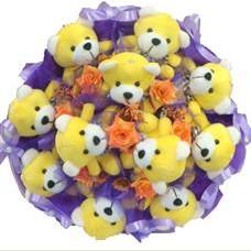 11 adet pelus ayicik buketi  Gaziantep çiçekçiler