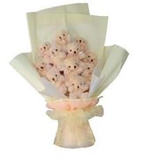 11 adet pelus ayicik buketi  Gaziantep kaliteli taze ve ucuz çiçekler