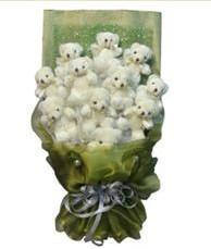 11 adet pelus ayicik buketi  Gaziantep çiçek gönderme