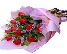 11 adet kirmizi güllerden görsel buket  Gaziantep 14 şubat sevgililer günü çiçek