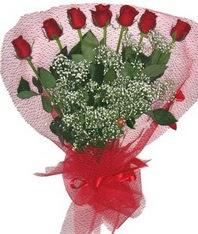 7 adet kipkirmizi gülden görsel buket  Gaziantep çiçekçiler