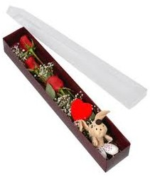 kutu içerisinde 3 adet gül ve oyuncak  Gaziantep çiçek satışı