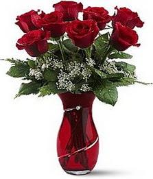 Vazo içinde 8 adet kirmizilar içinde güller  Gaziantep çiçek gönderme sitemiz güvenlidir