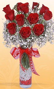 10 adet kirmizi gülden vazo tanzimi  Gaziantep online çiçekçi , çiçek siparişi