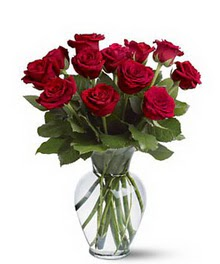 Gaziantep 14 şubat sevgililer günü çiçek  cam yada mika vazoda 10 kirmizi gül