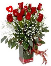 Gaziantep çiçek yolla  9 adet mika yada cam vazoda gül tanzimi kalp çubuk