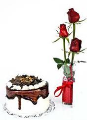 Gaziantep çiçek yolla  vazoda 3 adet kirmizi gül ve yaspasta