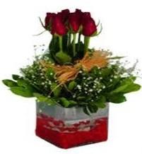 Gaziantep hediye sevgilime hediye çiçek  7 adet mika yada cam vazoda gül tanzimi