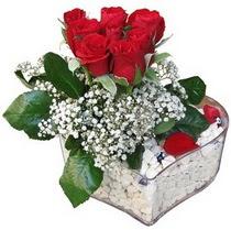 Gaziantep çiçek siparişi vermek  kalp mika içerisinde 7 adet kirmizi gül