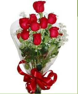 Gaziantep çiçek , çiçekçi , çiçekçilik  10 adet kırmızı gülden görsel buket