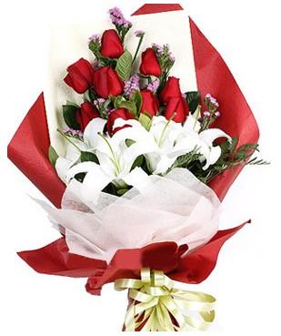Gaziantep İnternetten çiçek siparişi  1 dal kazablankaa 9 adet kırmızı gül buketi