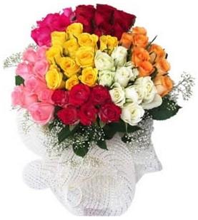 Gaziantep çiçek online çiçek siparişi  51 adet farklı renklerde gül buketi