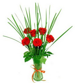 Gaziantep çiçek mağazası , çiçekçi adresleri  6 adet kırmızı güllerden vazo çiçeği