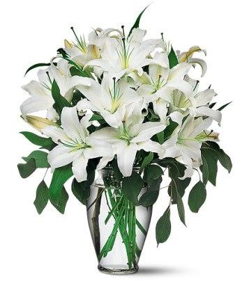 Gaziantep çiçek yolla , çiçek gönder , çiçekçi   4 dal kazablanka ile görsel vazo tanzimi