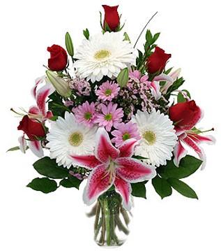 Gaziantep çiçekçiler  1 dal kazablanka 5 gül ve kırçiçeği vazosu