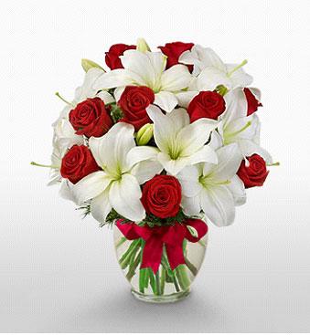 Gaziantep güvenli kaliteli hızlı çiçek  1 dal kazablanka 11 adet kırmızı gül vazosu