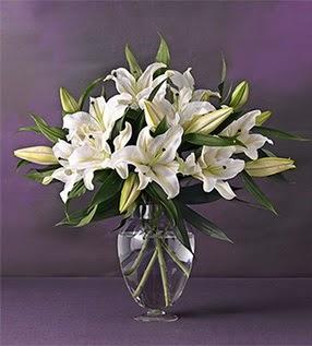 Gaziantep uluslararası çiçek gönderme  4 dal cazablanca vazo çiçeği