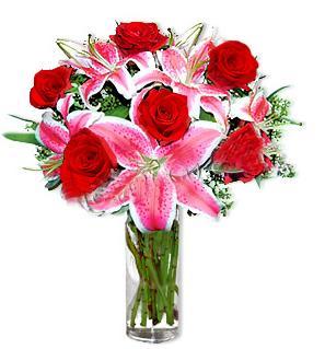 Gaziantep anneler günü çiçek yolla  1 dal cazablanca ve 6 kırmızı gül çiçeği