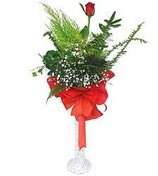 Gaziantep hediye çiçek yolla  Cam vazoda masum tek gül