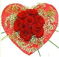 Mika kalp içerisinde 7 adet kırmızı gül  Gaziantep yurtiçi ve yurtdışı çiçek siparişi