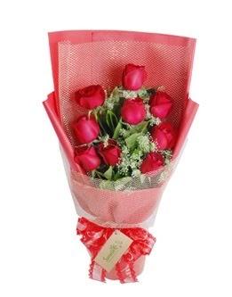 9 adet kırmızı gülden görsel buket  Gaziantep kaliteli taze ve ucuz çiçekler