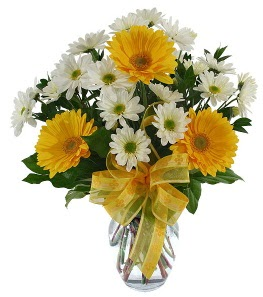 sarı ve beyaz kır çiçeklerinden vazo tanzimi